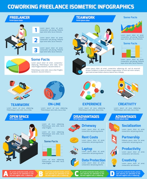 Set d'infographie freelance Vecteur gratuit