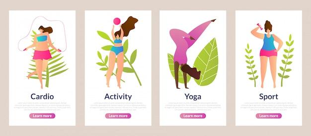 Set d'inscription cardio, activité, yoga et sport. Vecteur Premium