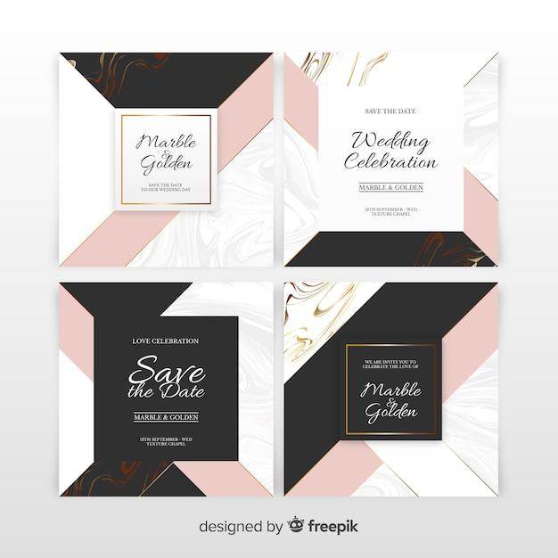 Set d'invitation de mariage en marbre Vecteur gratuit