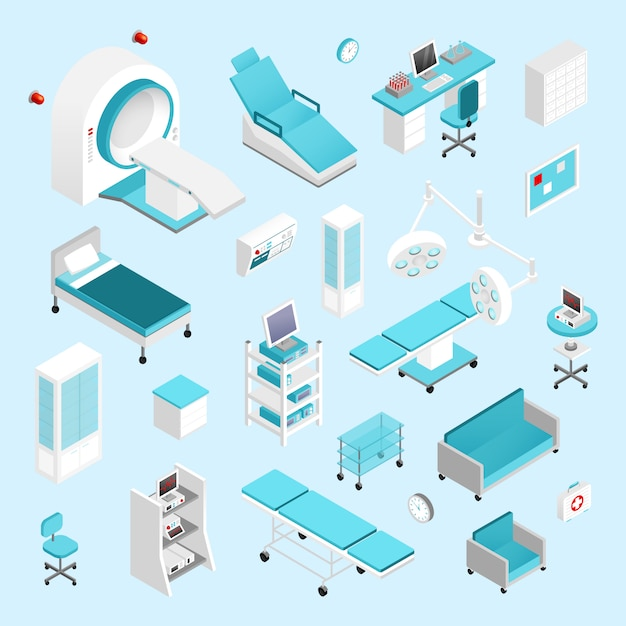 Set isométrique d'hôpital Vecteur gratuit