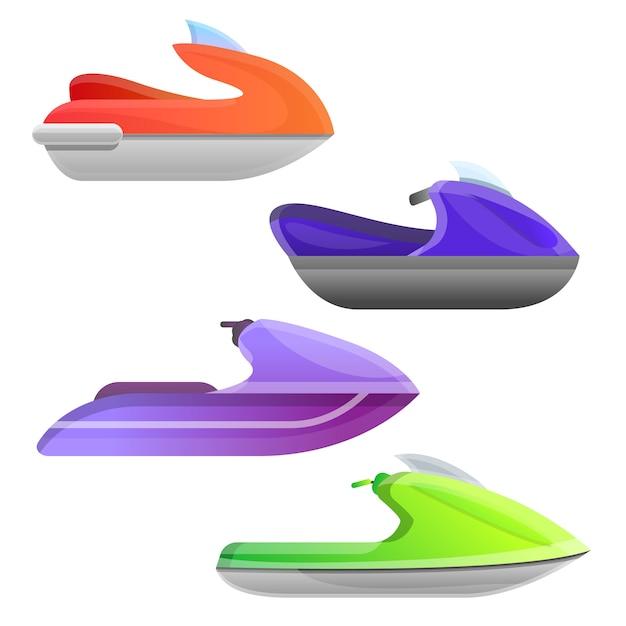 Set de jet ski. jeu de dessin animé de jet ski Vecteur Premium