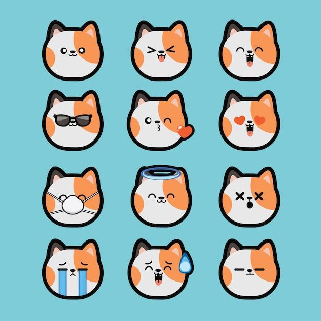 Set Kawaii Cute Faces Style Yeux Et Bouches émoticône De Dessin Animé Drôle De Chat Vecteur Premium