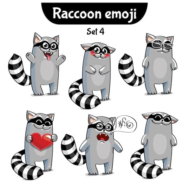 Set Kit Collection Autocollant Emoji émoticône émotion Illustration Isolé Heureux Caractère Doux, Mignon Raton Laveur Vecteur Premium