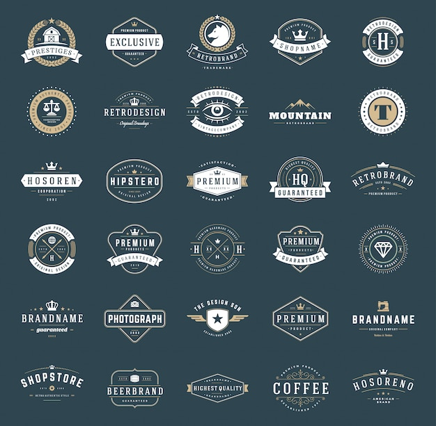 Set de logos et badges vintage rétro typopgraphic Vecteur Premium