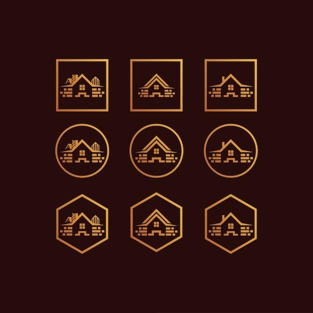 Set de maison logo dégradé de couleur Vecteur Premium