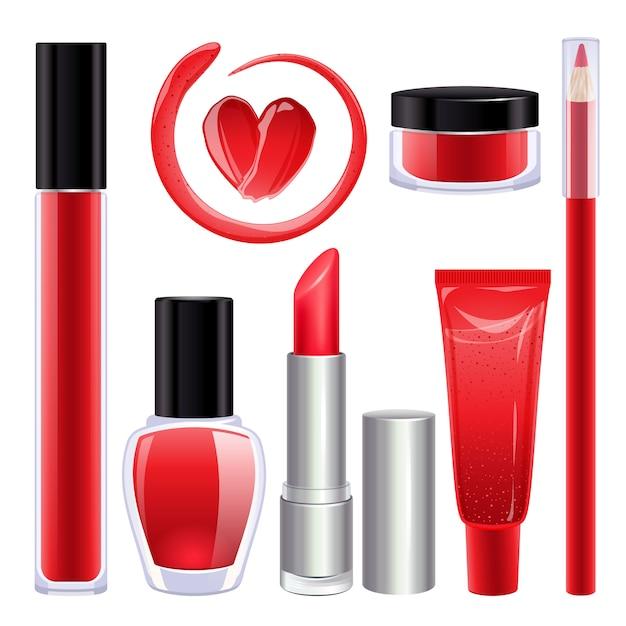 Set de maquillage pour les lèvres et les ongles. Vecteur Premium