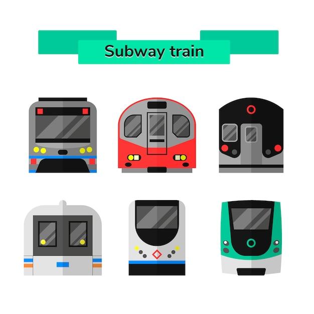 Set métro métro de vecteur Vecteur Premium