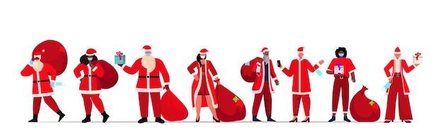 Set Mix Race Personnes En Costumes De Père Noël Portant Des Masques De Protection Nouvel An Vacances De Noël Célébration Concept De Quarantaine Coronavirus Illustration Horizontale Vecteur Premium