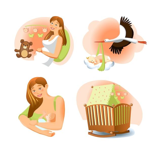 Set naissance bébé Vecteur gratuit