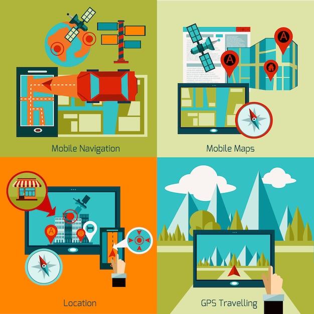 Set de navigation gps Vecteur gratuit