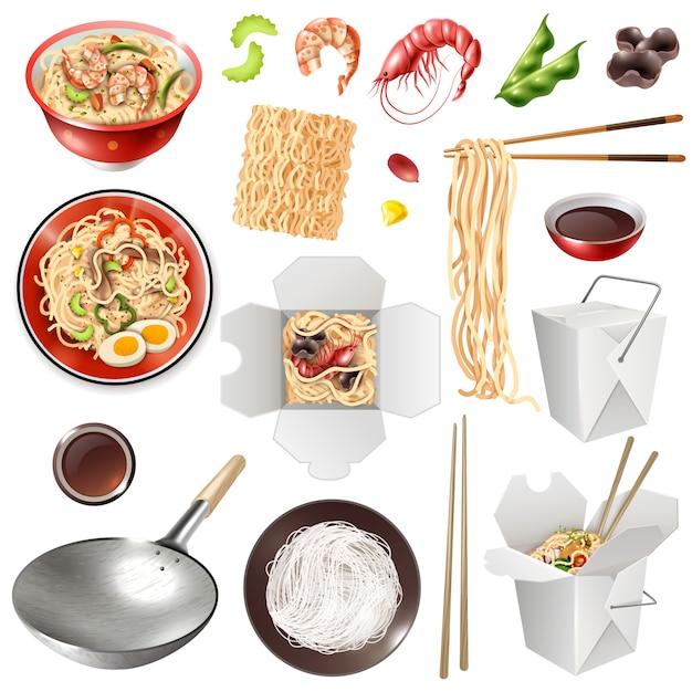 Set de nouilles chinoises réalistes Vecteur gratuit