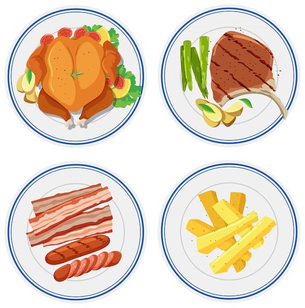Set de nourriture sur plaque Vecteur gratuit