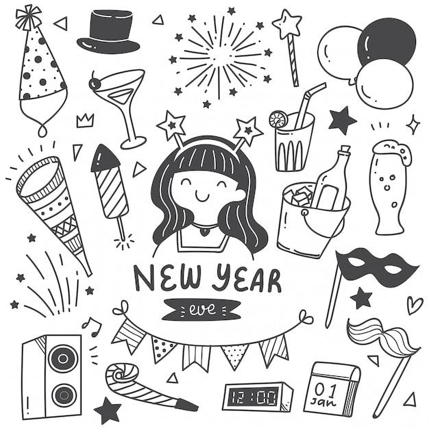 Set sur le nouvel an doodles Vecteur Premium