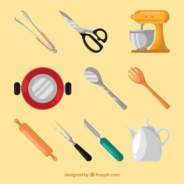 Set avec des objets de cuisson plats Vecteur gratuit
