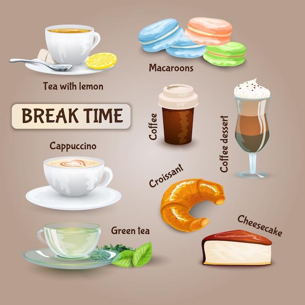 Set de pause café Vecteur gratuit