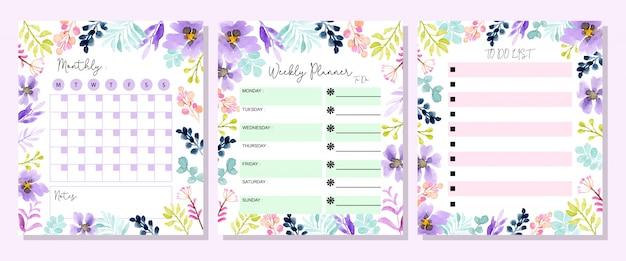 Set planner avec aquarelle florale Vecteur Premium