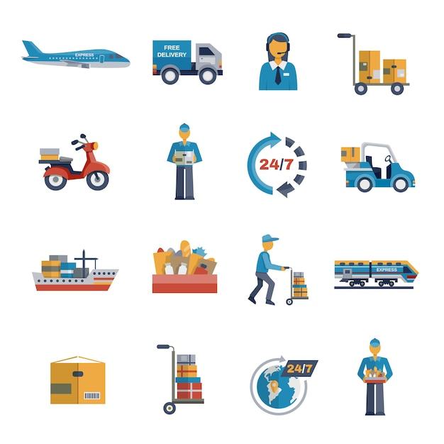 Set plat d'icônes de livraison Vecteur gratuit
