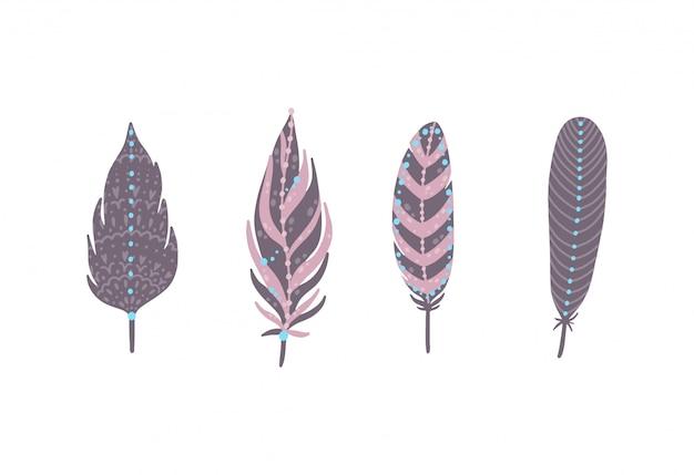 Set de plumes ethniques boho. plumes de style vintage de bohême. Vecteur Premium
