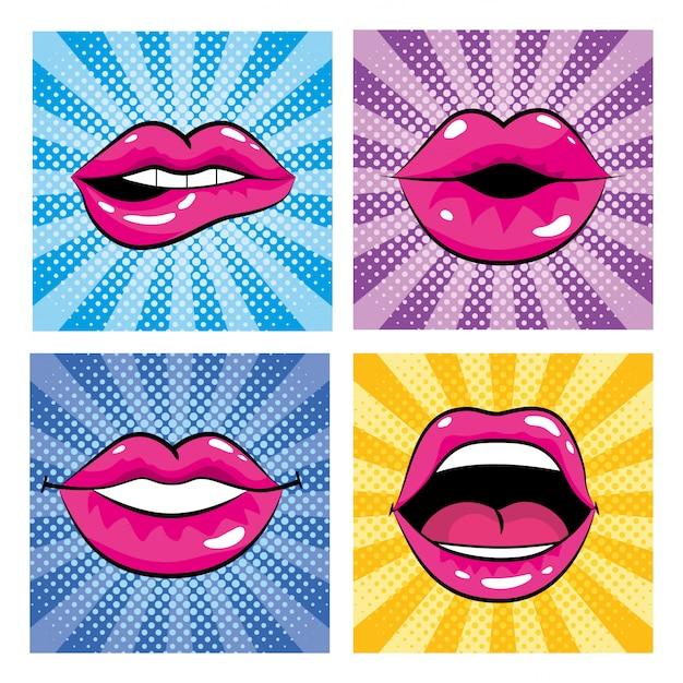 Set pop art bouche avec dents et langue Vecteur Premium