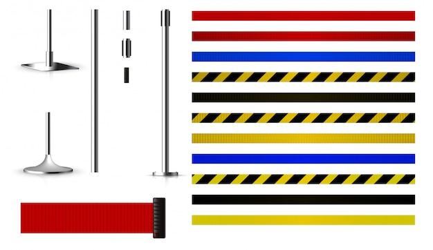 Set pour créer des barrières métalliques avec une ceinture Vecteur Premium