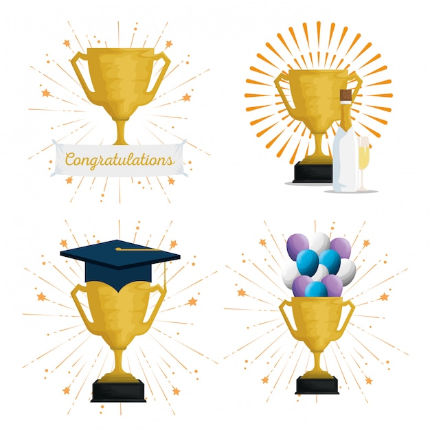 Set Prix Coupe Avec Chapeau De Graduation Et Ballons Vecteur gratuit