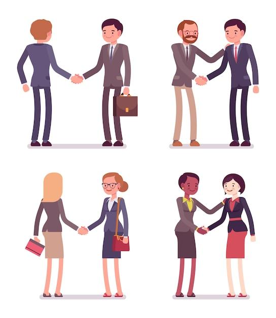 Set De Quatre Paires D'affaires Handshaking Vecteur Premium