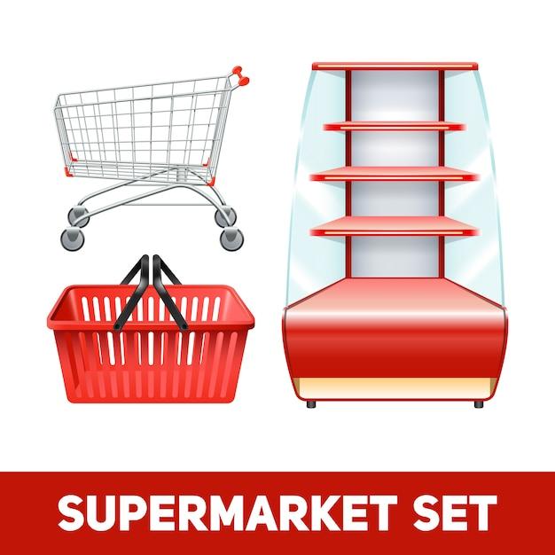 Set réaliste de supermarché Vecteur gratuit
