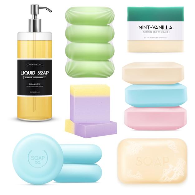 Set de savon réaliste Vecteur gratuit
