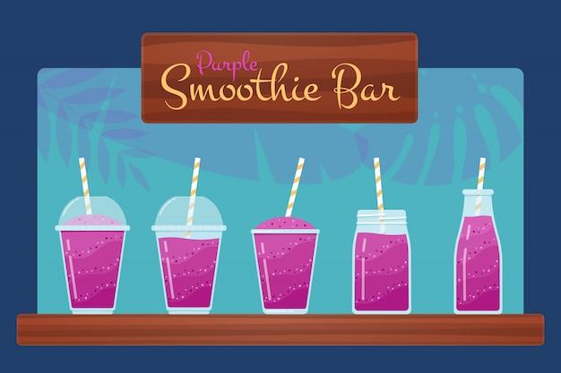 Set De Smoothies Violets Ou Cocktail De Fruits Vecteur Premium