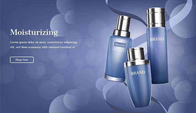 Set de soin bleu avec rubans et lumière scintillante Vecteur Premium
