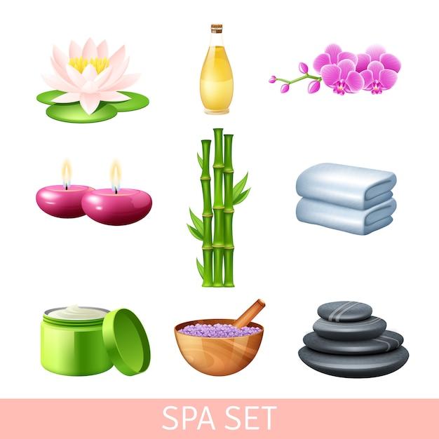 Set de soins spa et bien-être Vecteur gratuit