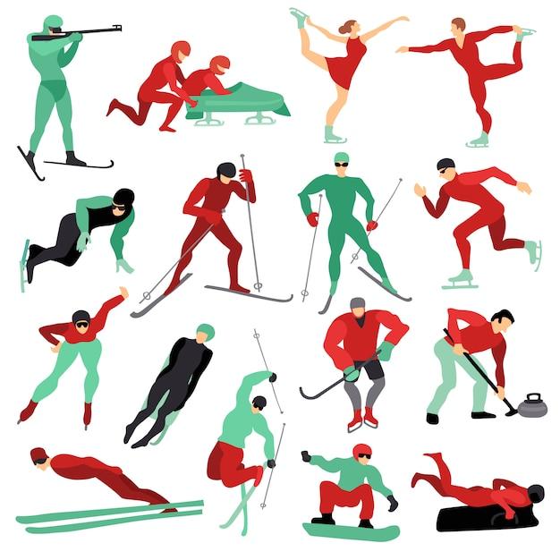 Set De Sports D'hiver Vecteur gratuit