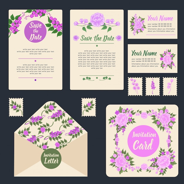 Set stationnaire d'invitation de mariage Vecteur Premium