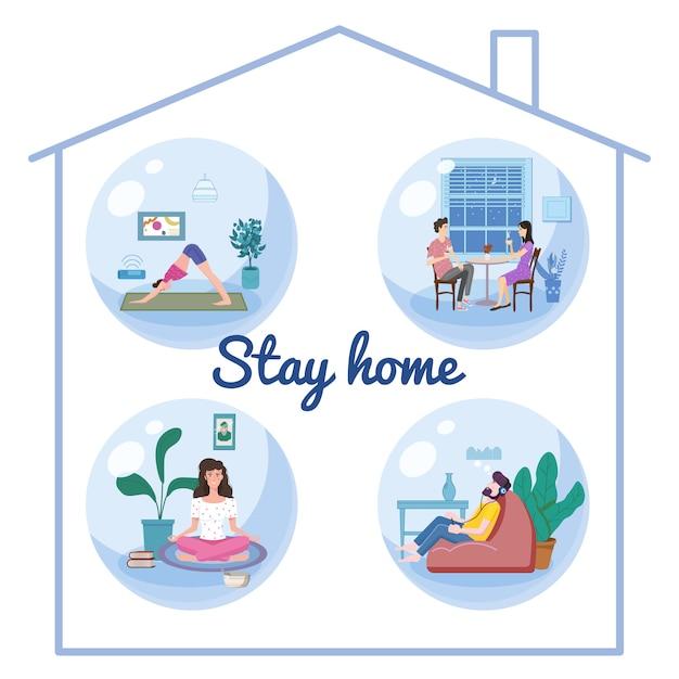 Set Stay Home Quarantine Consept Banners Self Isolation. Jeune Couple Et Femmes Et Hommes Assis à La Maison Boire Du Café, Pratiquer Le Yoga, La Méditation, écouter Misic Vecteur Premium