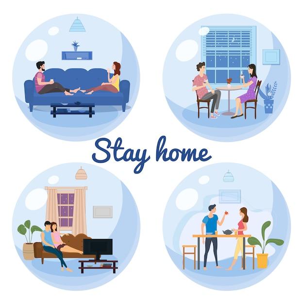 Set Stay Home Quarantine Consept Banners Self Isolation. Les Jeunes Couples Familles Assis à La Maison Boivent Du Thé, Regardent Des Films Télévisés En Souriant Et En Restant Ensemble Vecteur Premium