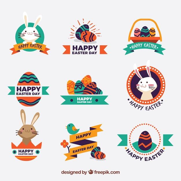 Set de stickers décoratifs de pâques dans la conception vintage Vecteur gratuit