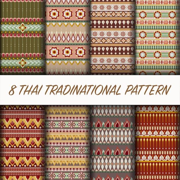 Set de style thaïlandais vector Vecteur Premium