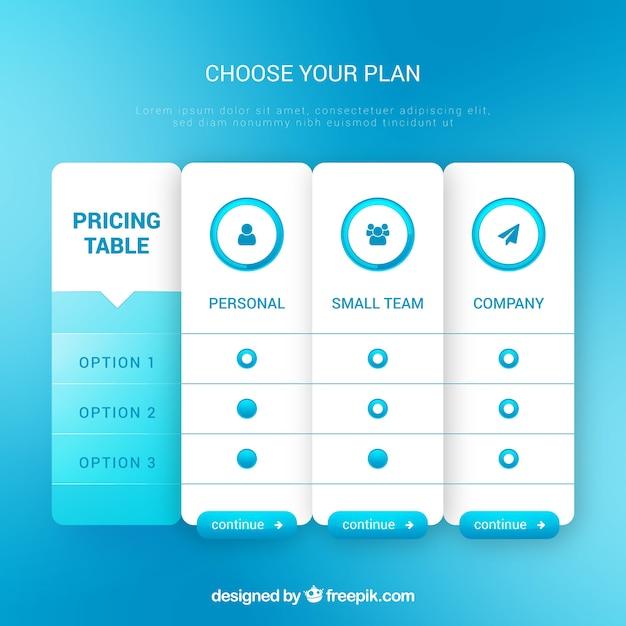 Set de table de tarification Vecteur gratuit