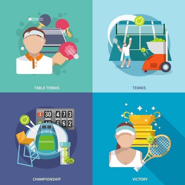Set De Tennis Vecteur gratuit