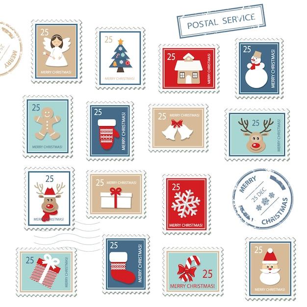 Set de timbres postaux de noël. Vecteur Premium