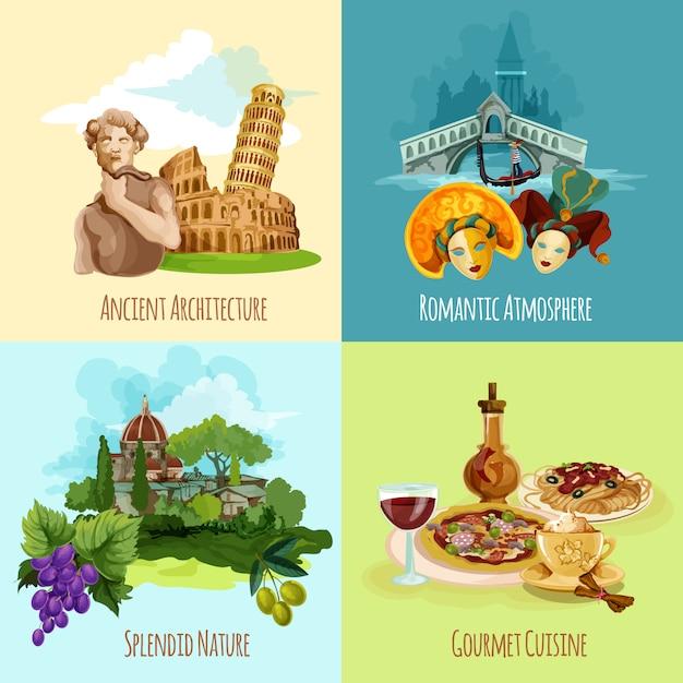 Set Touristique Italie Vecteur gratuit