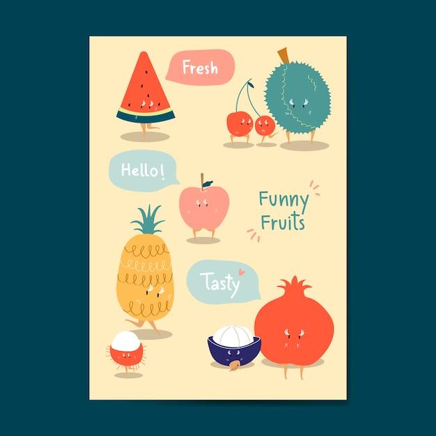 Set De Vector Autocollants Drôles Fruits Cartoon Vecteur gratuit