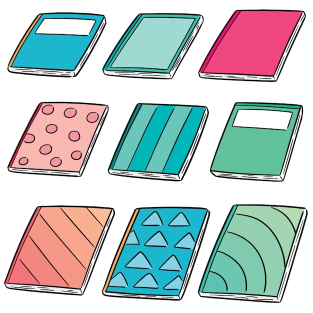 Set vector de cahiers Vecteur Premium