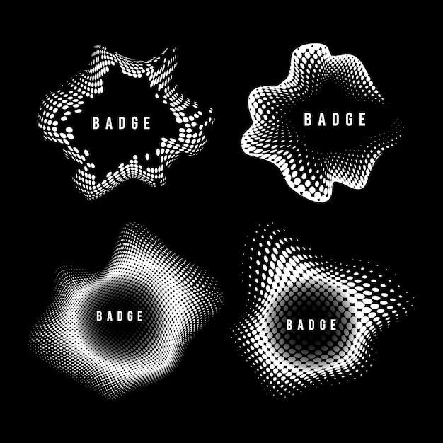 Set de vector insigne de demi-teinte vintage noir et blanc Vecteur gratuit