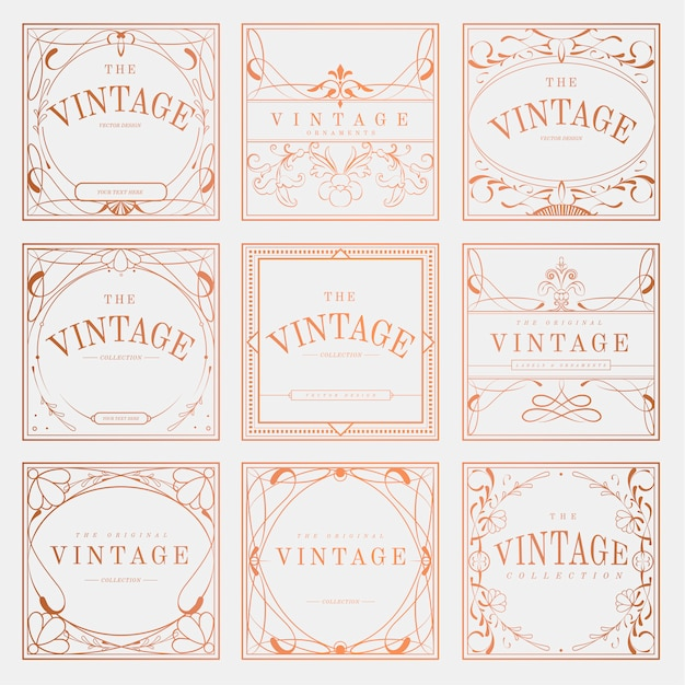 Set de vector luxueux vintage art nouveau insigne Vecteur gratuit