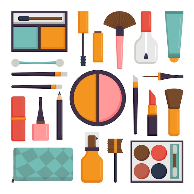 Set vector maquillage brosses et icône de la mode beauté cosmétique. Vecteur Premium
