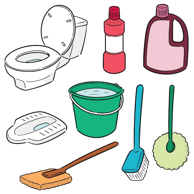 Set vector de nettoyant pour toilettes Vecteur Premium