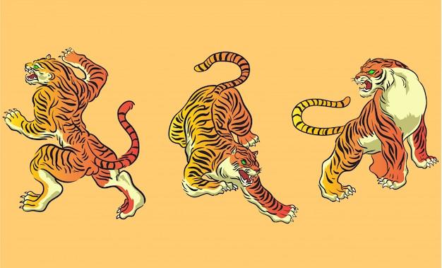 Set de vector tigre style japonais Vecteur Premium