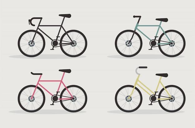 Set De Vélo De Route Vecteur Premium