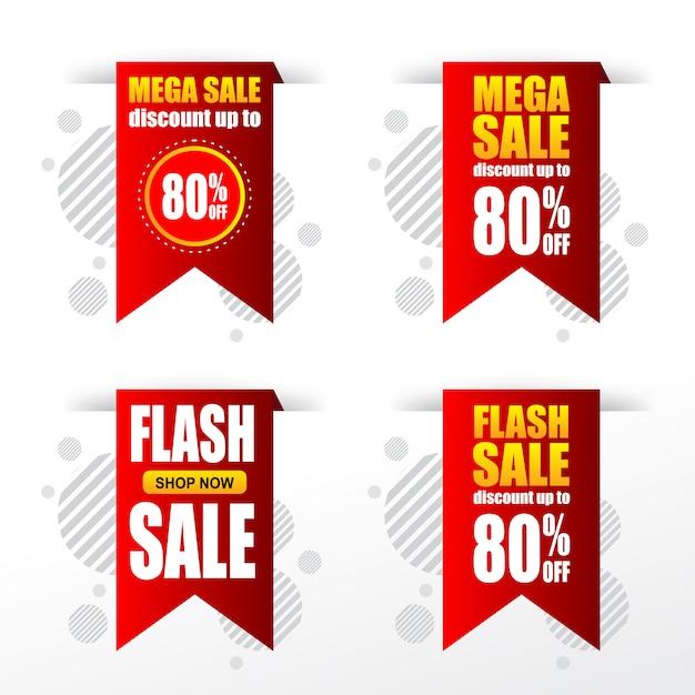 Set de vente banniere tags de remise Vecteur Premium